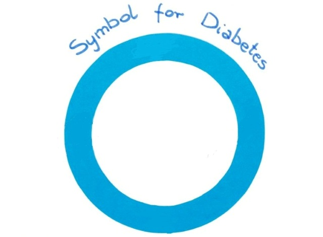 Blue circle of paper, symbol of world diabetes day on white background, copy space for text or inscription